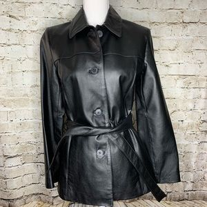 Black leather jacket belt buttons size small